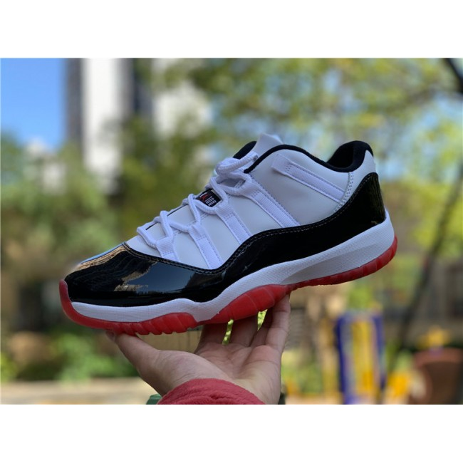 Mens 2020 Cheap Air Jordan 11 Low White Black Bred