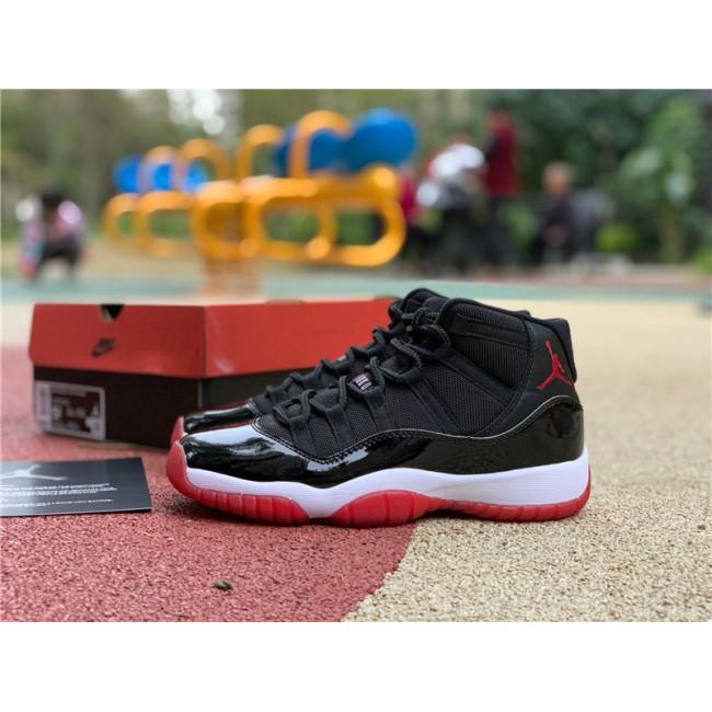 Womens 2020 Girls Air Jordan 11 Bred Black Red For Sale