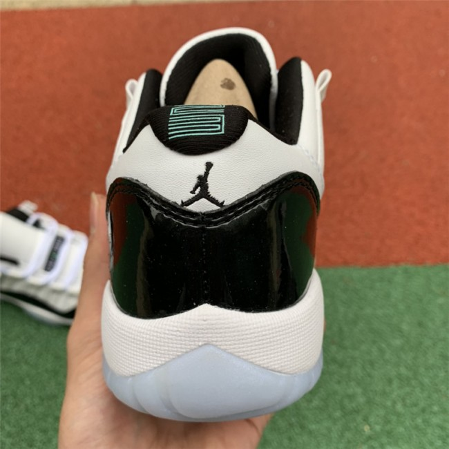 Womens Air Jordan 11 Low Retro GS Emerald White/Emerald Rise-Black