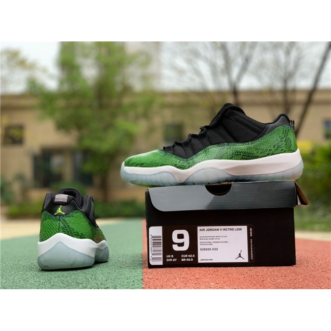 Mens Air Jordan 11 Retro Low Green Snakeskin Black/Nightshade