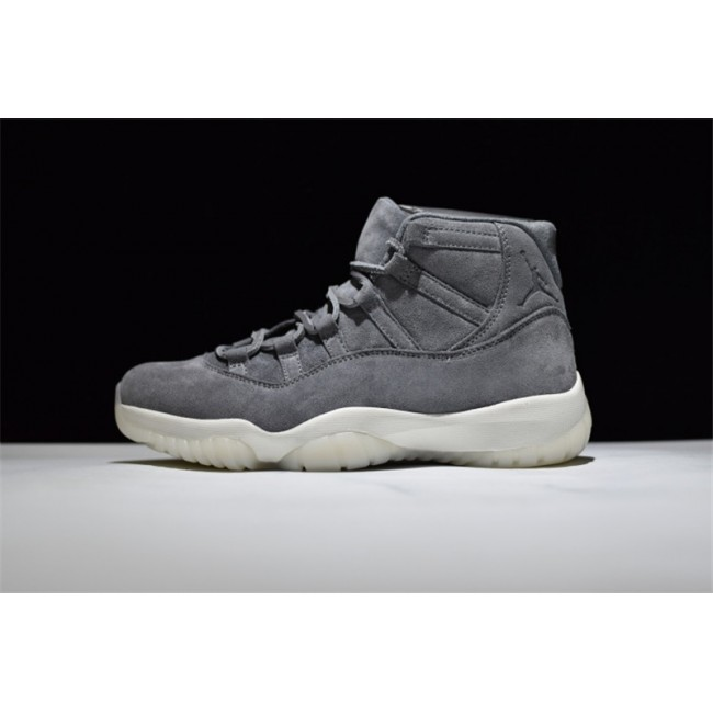 Mens New Air Jordan 11 Premium Suede Cool Grey/Sail