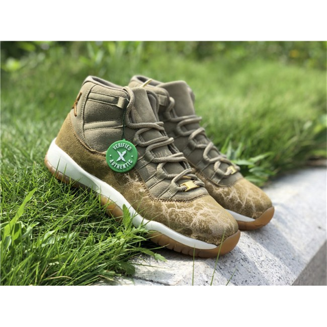 Womens Air Jordan 11 WMNS Neutral Olive/Sail-Gum Light Brown