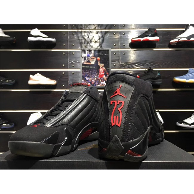 Mens 2018 Air Jordan 14 Last Shot Black/Varsity Red