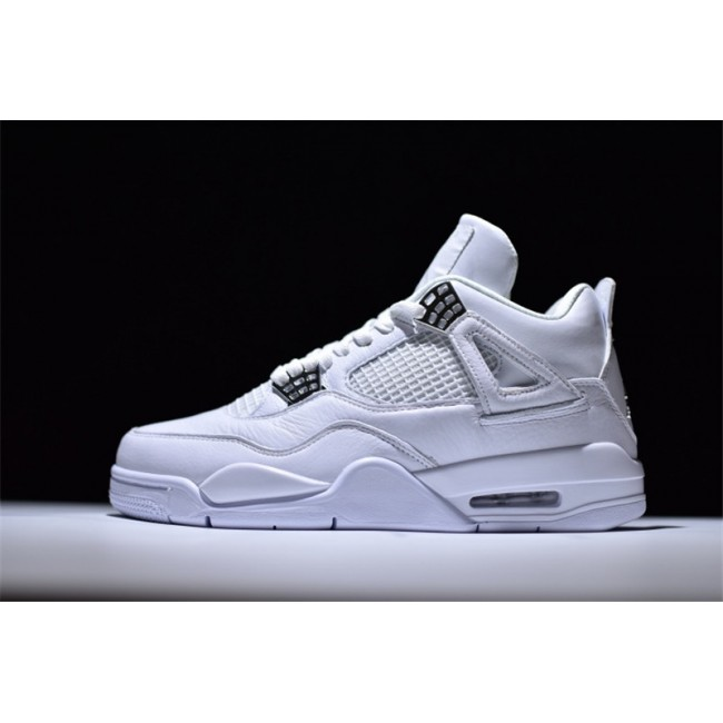 Mens 2017 Air Jordan 4 Retro Pure Money White Metallic Silver