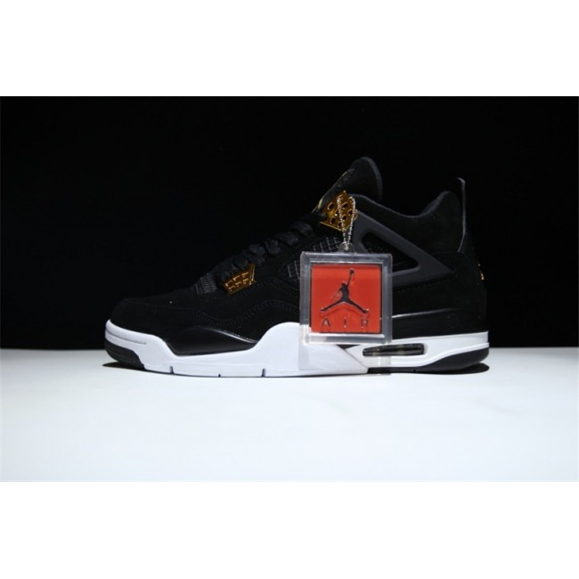 Mens/Womens Air Jordan 4 Royalty Black Metallic Gold-White
