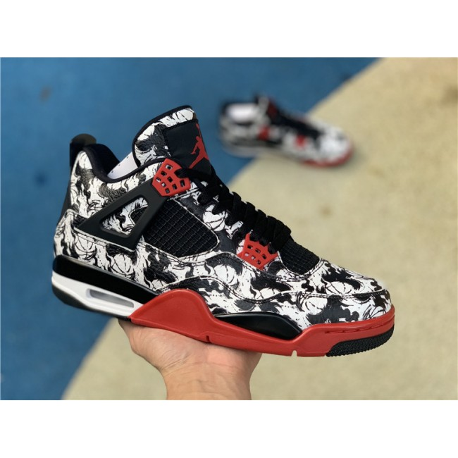 Mens Air Jordan 4 Tattoo Black Fire Red-Black-White