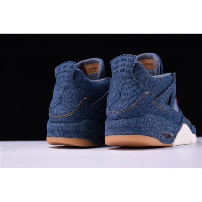 Mens Latest Levis x Air Jordan 4 Black Denim Sneakers