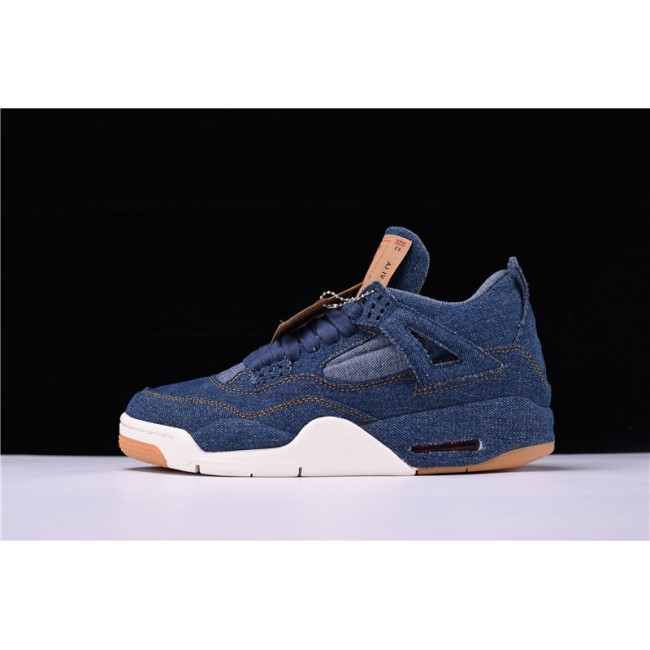 Mens Latest Levis x Air Jordan 4 Black Denim Sneakers