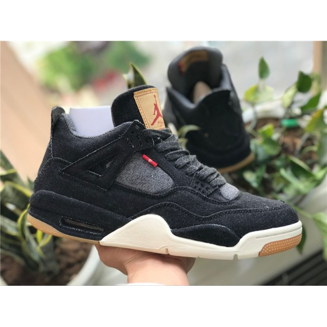 Mens Levis x Air Jordan 4 Denim Sail-Game Red