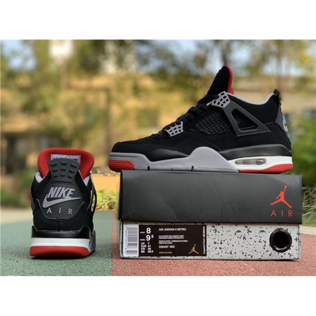Mens/Womens Air Jordan 4 Bred Black Cement Grey-Summit White