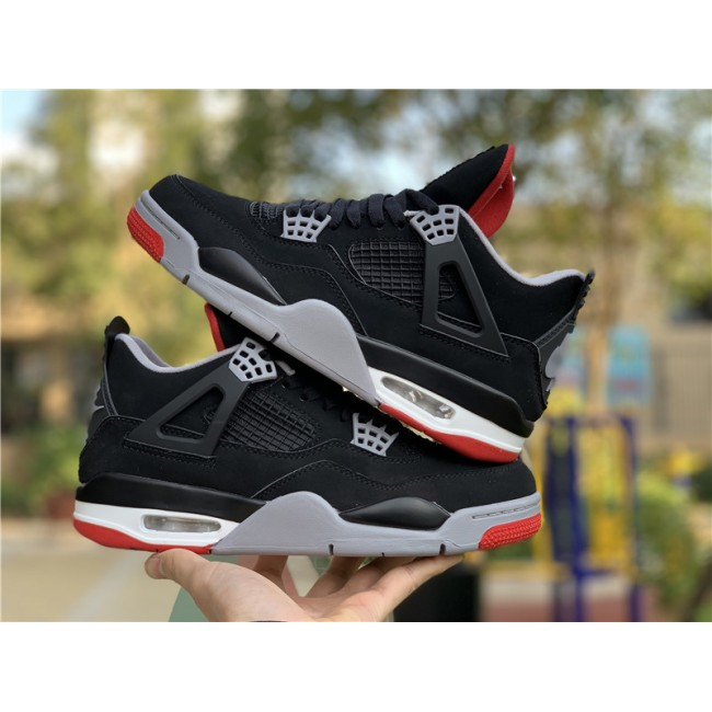 Mens/Womens Air Jordan 4 Bred Black Cement Grey-Summit White