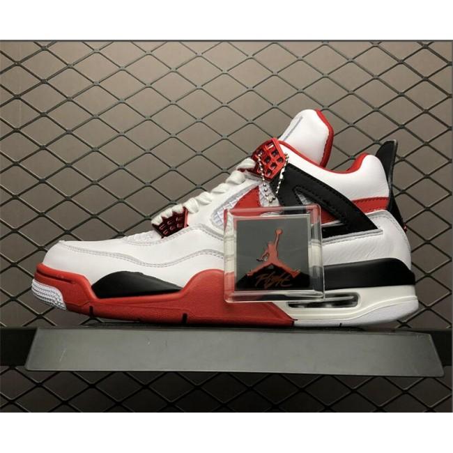 Mens Air Jordan 4 Retro Fire Red White Red-Black