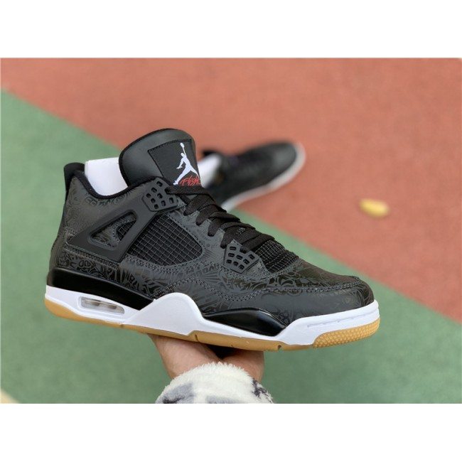 Mens New Air Jordan 4 Retro SE Laser Black Gum