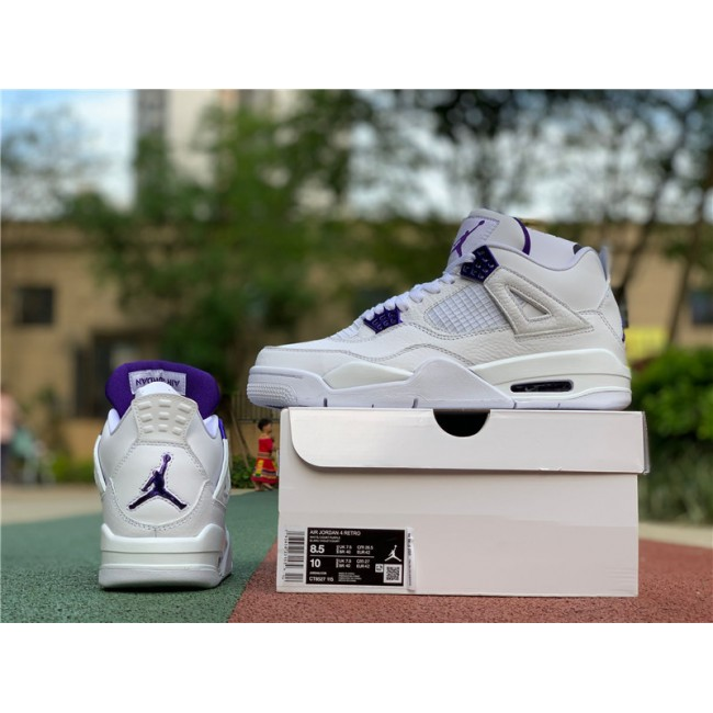 Mens Air Jordan 4 Metallic Purple Basketball Shoes