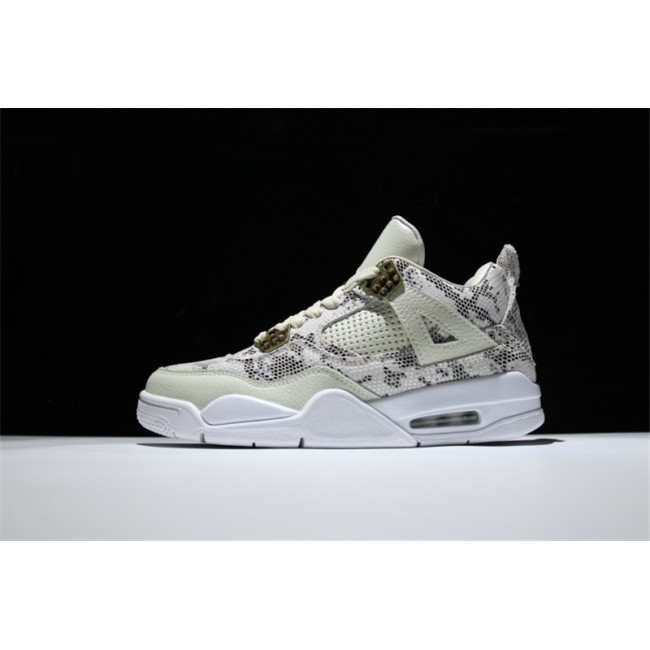 Mens Air Jordan 4 Premium Snakeskin Light Bone White-Pure