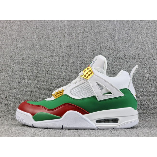 Mens Air Jordan 4 Retro GG Custom White Red Green Gold