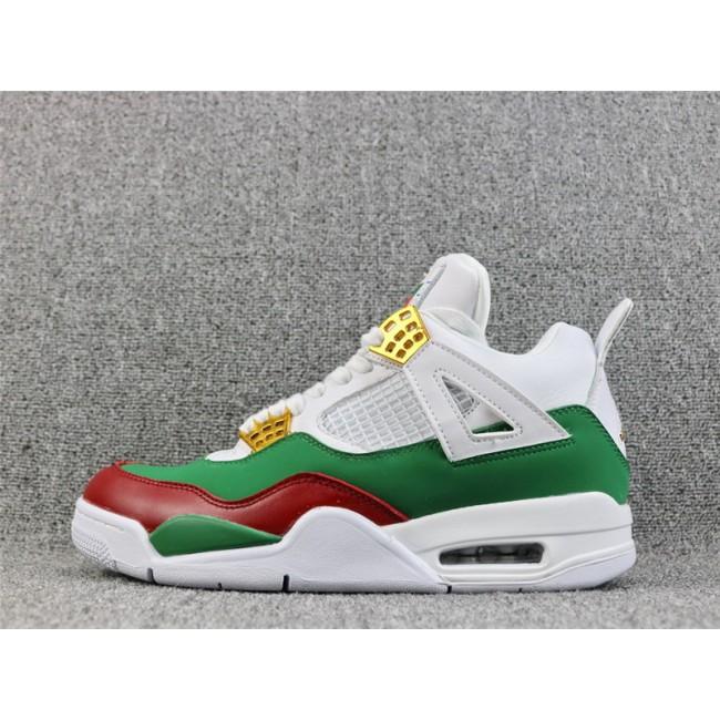 Mens Air Jordan 4 Retro GG Custom White Red Green Gold