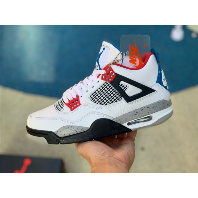 Mens Air Jordan 4 What The White Fire Red-Tech Grey-Military Blue