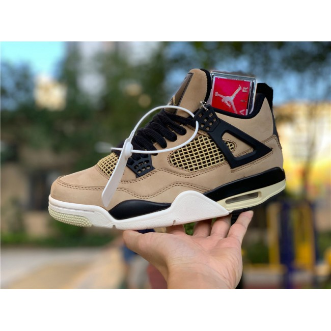Mens/Womens Air Jordan 4 Retro Mushroom Black-Fossil-Pale Ivory