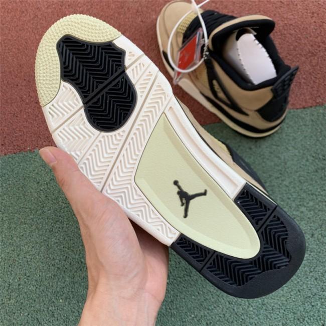 Mens/Womens Air Jordan 4 Retro Mushroom Black-Fossil-Pale Ivory