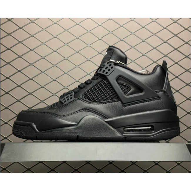 Mens Air Jordan 4 Retro Black Cat Black-Light Graphite