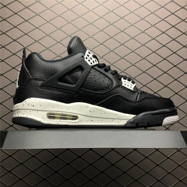 Mens Air Jordan 4 Retro LS Oreo Black Tech Grey
