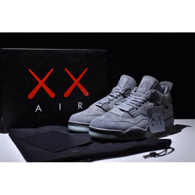 Mens New Release Kaws x Air Jordan 4 Retro Cool Grey White
