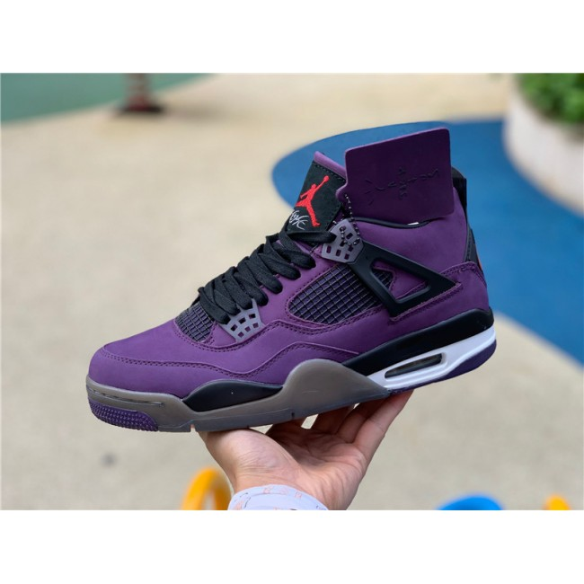 Mens Travis Scott x Air Jordan 4 Purple Suede