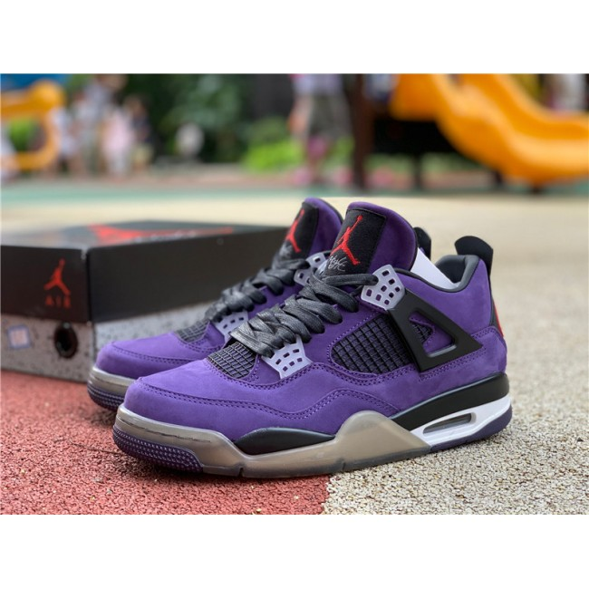 Mens Travis Scott x Air Jordan 4 Purple Suede-White Midsole