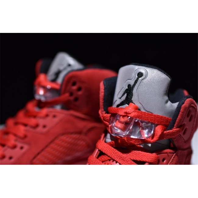 Mens/Womens Air Jordan 5 (V) Retro Red Suede Black-University Red