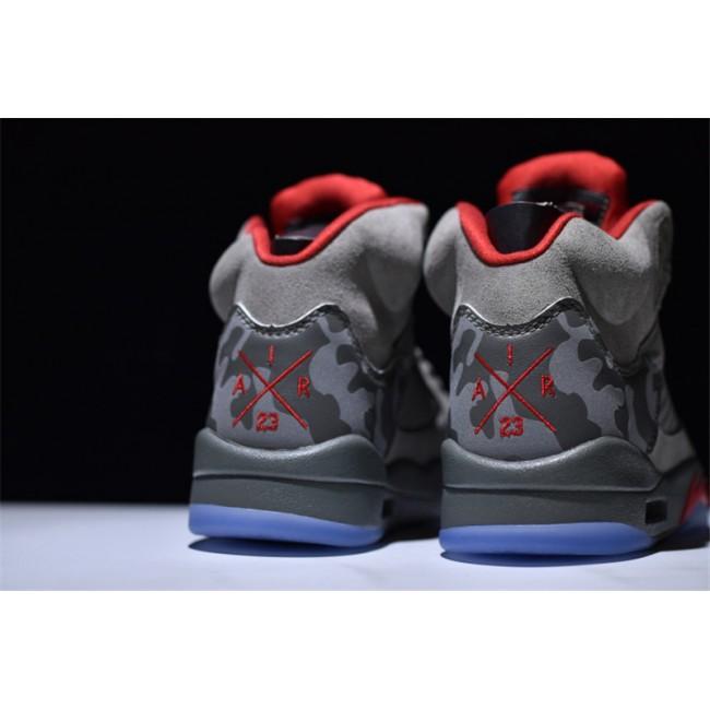 Mens Air Jordan 5 Retro Camo Dark Stucco Fire Red