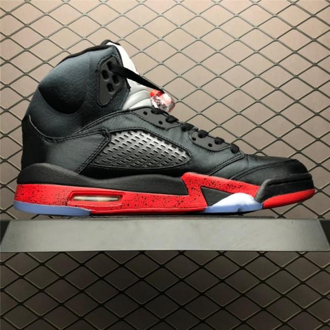 Mens Air Jordan 5 Retro Bred Black University Red