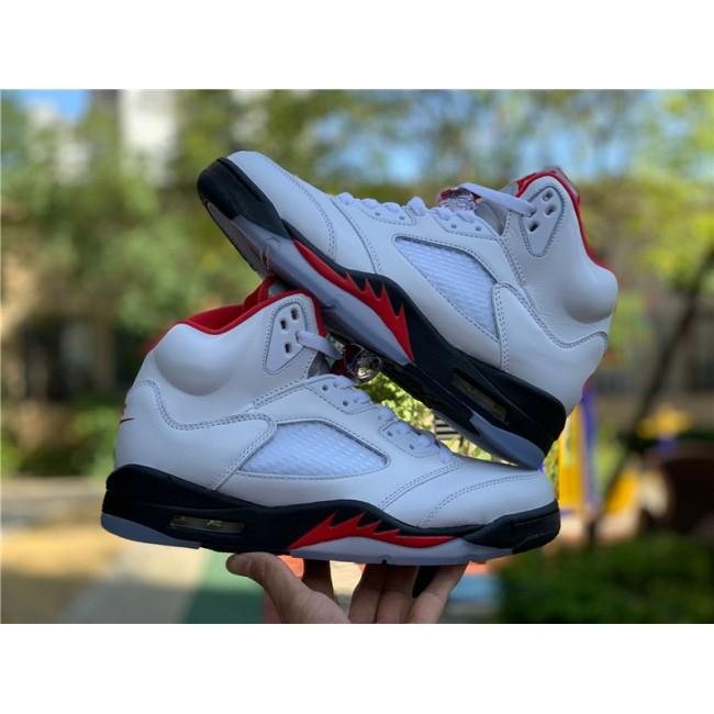 Mens Air Jordan 5 Retro Fire Red Silver Tongue