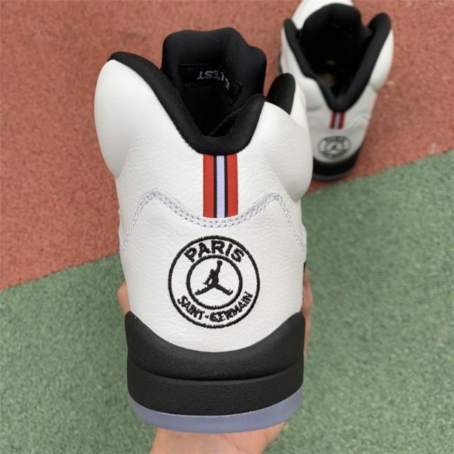 Mens Air Jordan 5 Paris PSG White Black-Challenge Red