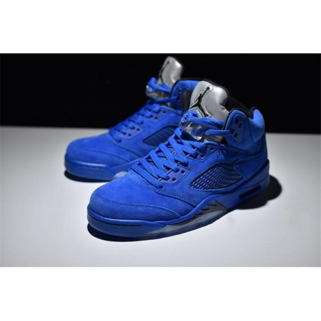 Mens Air Jordan 5 Retro Blue Suede Game Royal Game Royal-Black