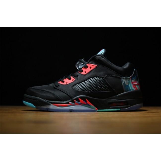 Mens/Womens Air Jordan 5 Low PRM QS China Black Bright Crimson-Hyper Jade