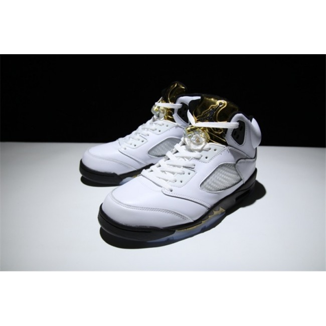 Mens/Womens New Release Air Jordan 5 Gold Tongue White Black-Metallic Gold