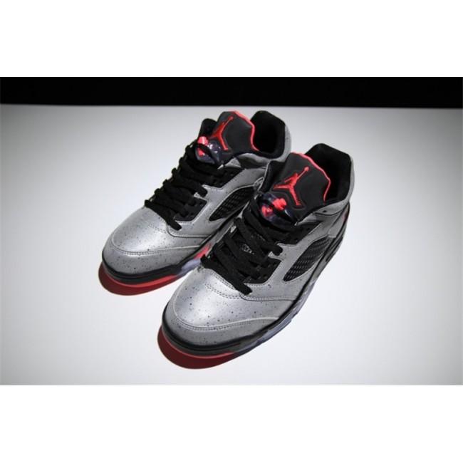 Mens/Womens Neymar x Air Jordan 5 Low Reflective Silver Infrared 23-Black
