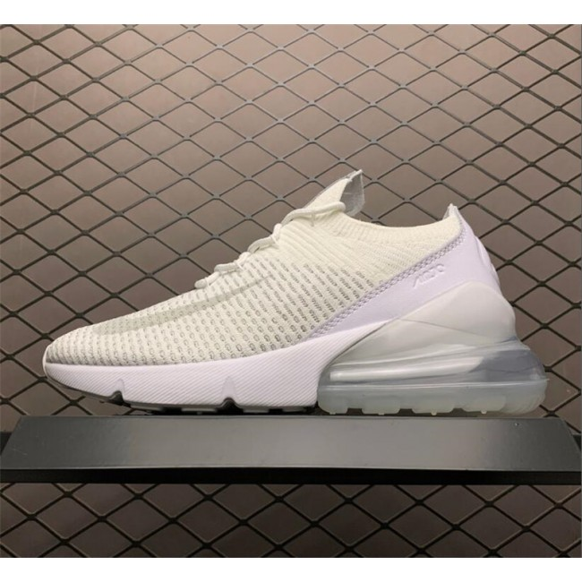 Mens/Womens Nike Air Max 270 Flyknit Triple White Outlet