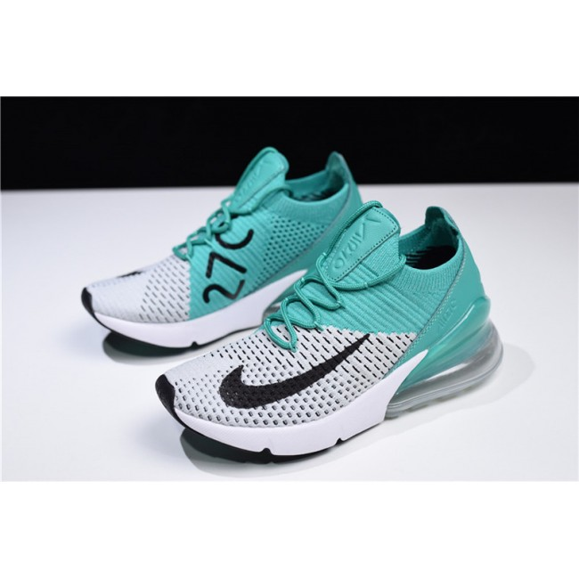 Womens Nike Air Max 270 Flyknit Clear Emerald Black-Pure