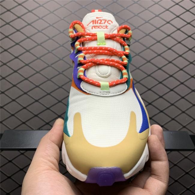 Womens Nike Air Max 270 React Desert Sand Volt Blue Running Shoes