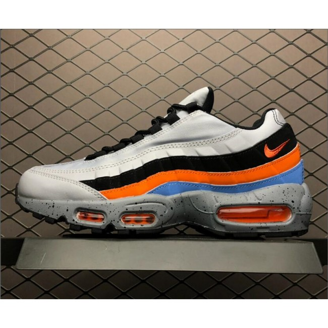 Mens Nike Air Max 95 Premium Wolf Grey Safety Orange