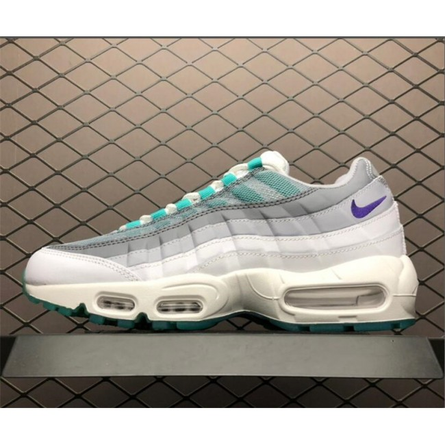 Mens Nike Air Max 95 White Grey Green 818592-995