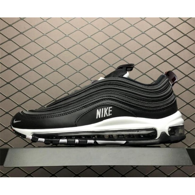 Mens Nike Air Max 97 Premium Black White-Varsity Red