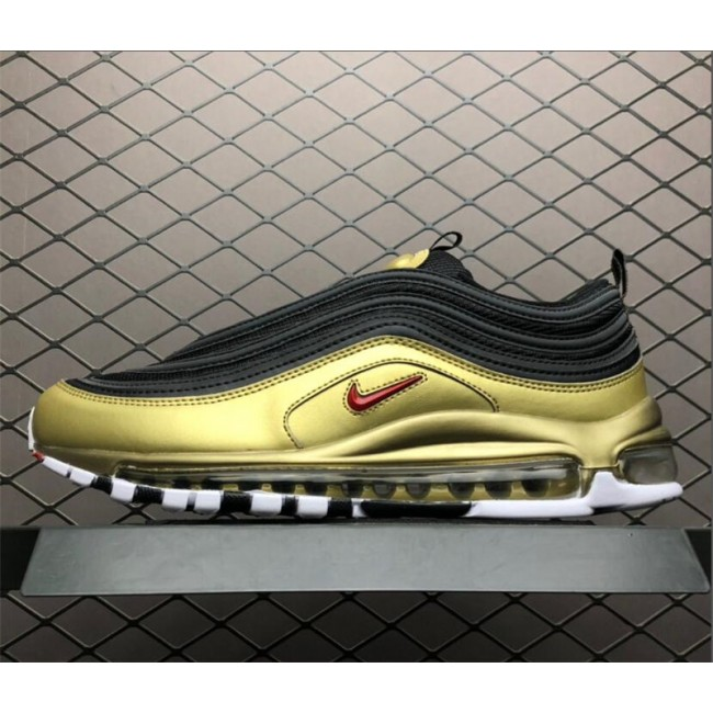 Mens/Womens Nike Air Max 97 QS Black Varsity Red-Metallic Gold-White
