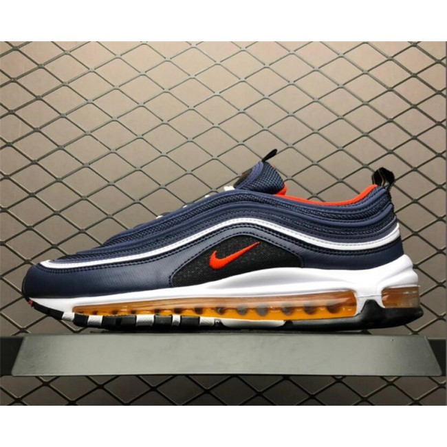 Mens/Womens Nike Air Max 97 Midnight Navy Habanero Red-Black-White