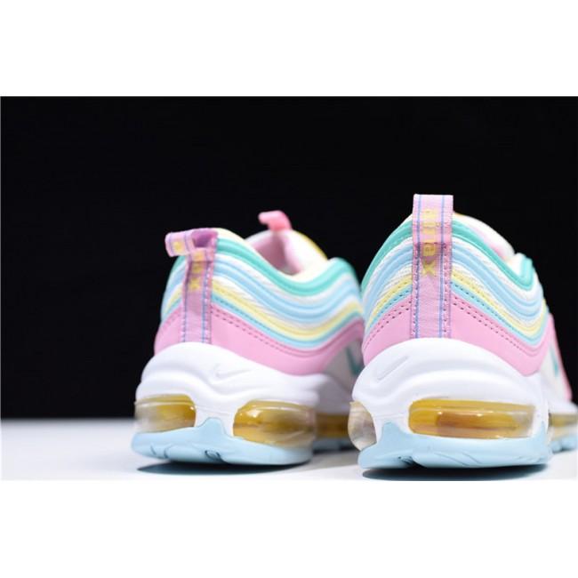 Womens Nike Air Max 97 Pink White-Yellow-Green Running