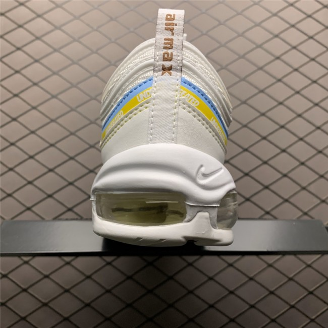 Mens/Womens Undefeated x Nike Air Max 97 White Blue Yellow Shoes