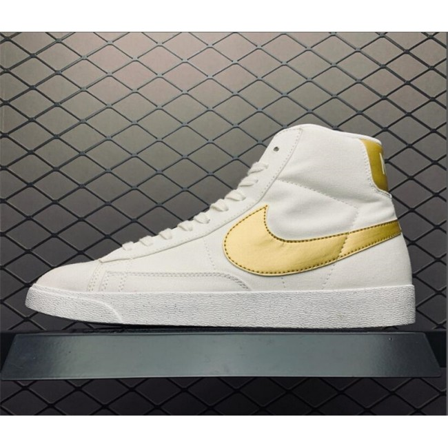 Mens/Womens Nike Blazer Mid PRM VNTG Ivory White Metallic Gold