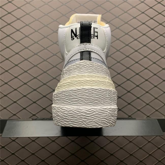 Mens Sacai x Nike Blazer Mid White Grey Shoes